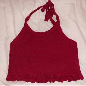 Red halter crop top from Pacsun